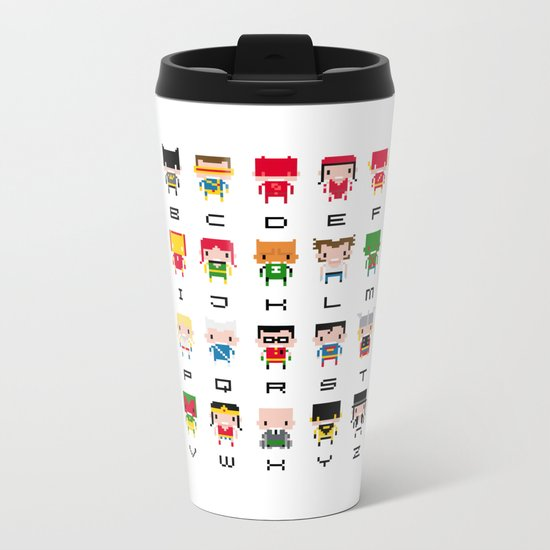 Superhero Alphabet Metal Travel Mug