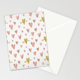 Yellow Rose Gold Hearts Pattern Stationery Cards