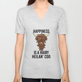 Happiness Is A Harry Heilan' Coo Highland Cow Unisex V-Neck