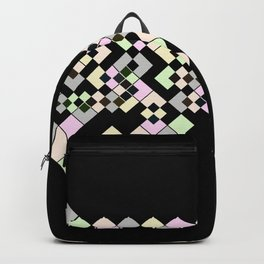 Abstract geometric pattern. Small colored squares on black. Backpack