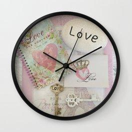 Shabby Chic Love Romantic Decor - Love Skeleton Key Prints Home Decr Wall Clock