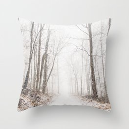 Winter path #photography #society6 Throw Pillow