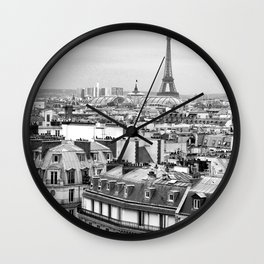 Paris Rooftops and the Eiffel Tower Wall Clock