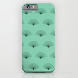 Abstract Hand Fan | Mint and Dark Green Color Palette iPhone Case