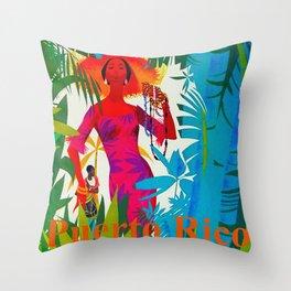 Vintage Caribbean Travel - Puerto Rico Throw Pillow