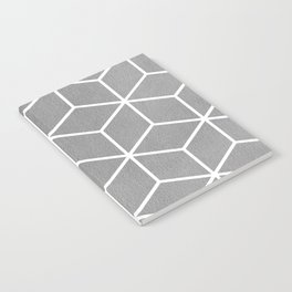Light Grey and White - Geometric Textured Cube Design Notebook