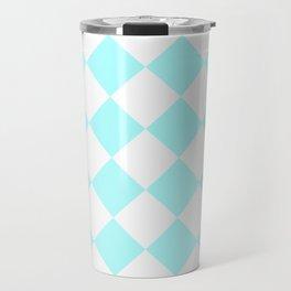 Large Diamonds - White and Celeste Cyan Travel Mug