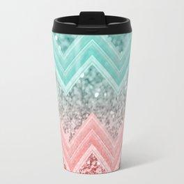 Summer Vibes Glitter Chevron #1 #coral #mint #shiny #decor #art #society6 Travel Mug