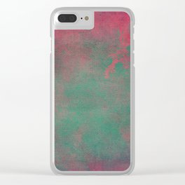 Grunge Garden Canvas Texture:  Pink and Teal Floral Clear iPhone Case