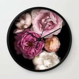 Pink, Purple, and White Roses Wall Clock