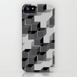 Pixel Cube - Black Silver iPhone Case