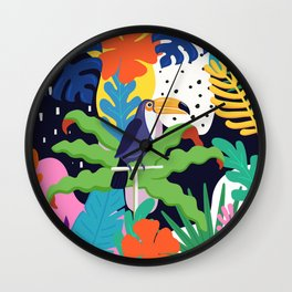 Bold Tropical Jungle Abstraction With Toucan Memphis Style Wall Clock