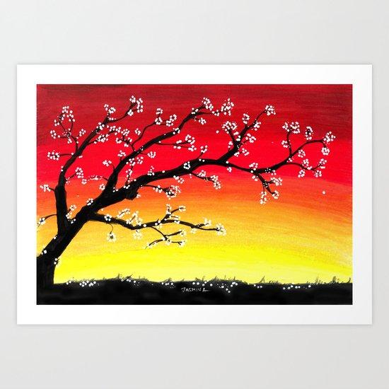 Drawing Sunset and a Blossom Tree by jasminasusakprints