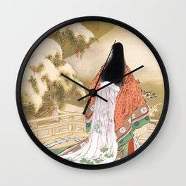 Vintage Ukiyo-E Poster by Ogata Gekko - Japanese Vintage Woodblock Painting Wall Clock