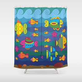 Concept with stylize fantasy fishes under water. Shower Curtain