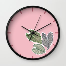 Botanical Splash, pink lake and leaves floating Wall Clock