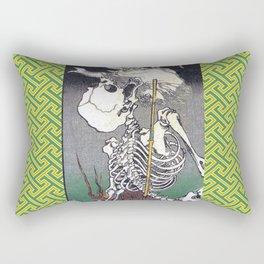 Green Kyosai Skeleton Kitsune Yokai Rectangular Pillow