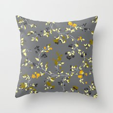 floral vines - greys, mustards & greens Throw Pillow