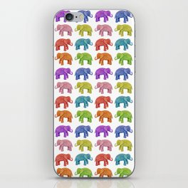 Colorful Parade of Elephants in Red, Orange, Yellow, Green, Blue, Purple and Pink iPhone Skin