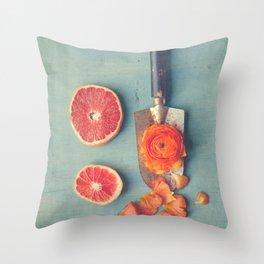 Grapefruit and Flowers Throw Pillow