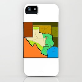 A Map of Texas with Waco on it iPhone Case