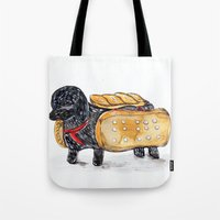 hot dog Tote Bags featuring Hot Dog by Mandarin Duck Craft