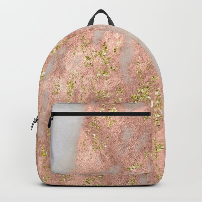 Rose Gold Marble with Yellow Gold Glitter Backpack