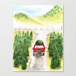 Christmas Tree Farm, Watercolor Art, Holiday, Winter Canvas Print