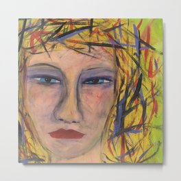 Abstract Portrait Face of an Angry Woman outsider visionary artist Metal Print