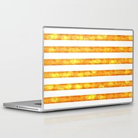 duvet cover Laptop & iPad Skins featuring Golden Glitter Stripes Duvet Cover by Corbin Henry