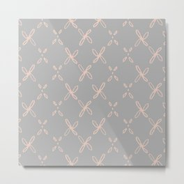 Pink & Gray Abstract Astral Pattern Metal Print