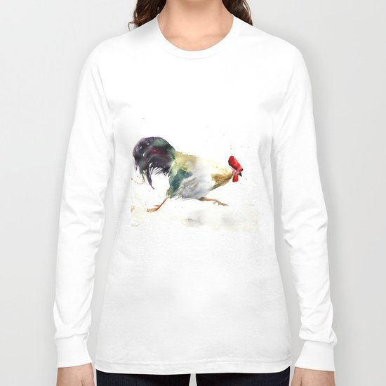 Symbol of 2017 Year, watercolor rooster, cock, cockerel Long Sleeve T-shirt