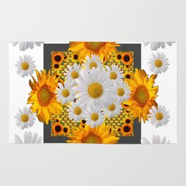 WHITE DAISIES FLORAL & YELLOW SUNFLOWERS FLOWERS Rug