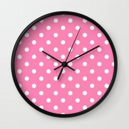 Pink & White Polka Dots Wall Clock