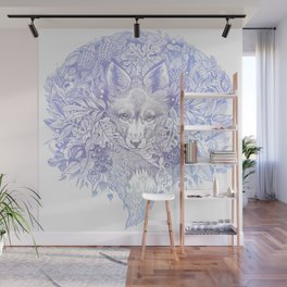 Pastel Purple Hiding Fox Drawing Wall Mural