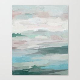 Sage Green Sky Blue Blush Pink Abstract Nature Sky Wall Art, Water Land Painting Print Canvas Print