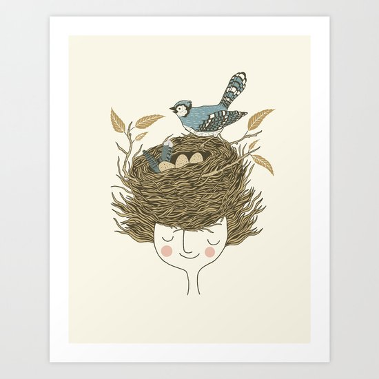Bird Hair Day Art Print