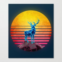 Neon Retro Synthwave Deer Canvas Print