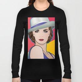 Beautiful Pop Art Woman Ingrid with Hat Long Sleeve T-shirt