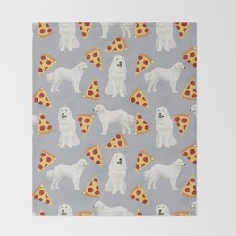 Great Pyrenees pizza dog portrait custom dog breed art print dog person gifts for christmas Throw Blanket