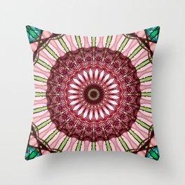 Mandala in red, light and dark green Throw Pillow