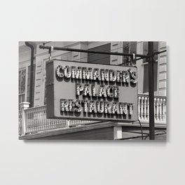 Old Commanders Palace Restaurant Sign, New Orleans Photo, Black and White Photography Metal Print