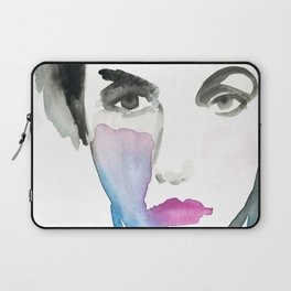 Pink Lipstick: Watercolor painting of woman in turquoise Laptop Sleeve
