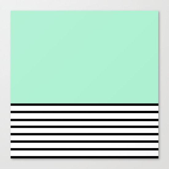 Fresh Mint Black and White stripes pattern Canvas Print
