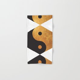 Yin Yang Geometrical Zen Meditation Yoga Gold Black Balance Minimalist   Hand & Bath Towel