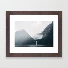 Milford Sound on a rainy day Framed Art Print
