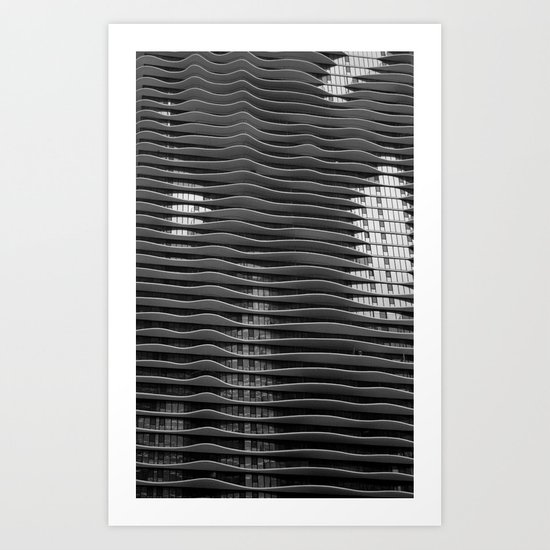 Wavy/Aqua Building Photo, Chicago, Architecture, Black and White Art Print