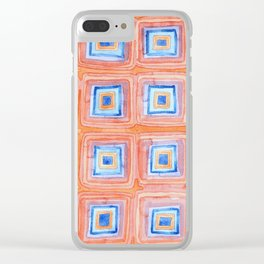 Twelve Red and Blue Melted Together Squares Clear iPhone Case