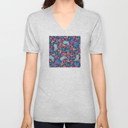 Elegant Asian Floral Pattern of Health and Wealth Unisex V-Neck