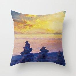 Rock Stack Sunrise Throw Pillow